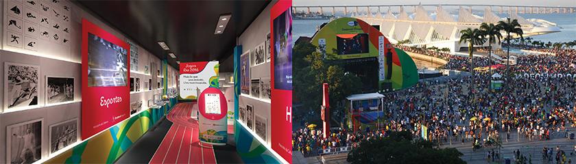 Museu Itinerante Se Prepara Brasil, da Bradesco Seguros (à esquerda) - Boulevard Olímpico (à direita )