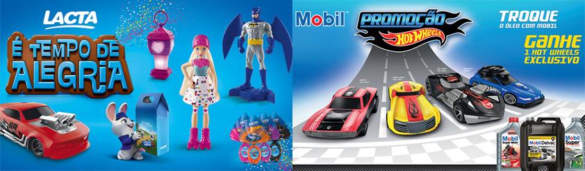 À esquerda, os brinquedos criados para a Páscoa e, à direita, carrinhos exclusivos para promoção