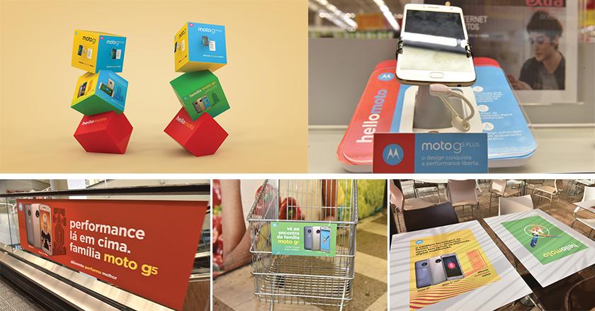 Para a Motorola, a agência desenvolveu um projeto de shopper marketing em uma grande rede de varejo que envolveu o estudo de toda a jornada do comprador desde fora até dentro da loja